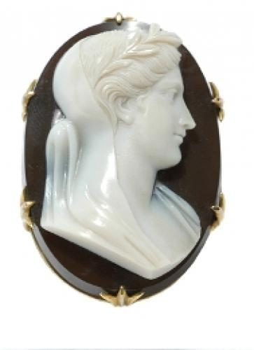 Carved Agate Cameo Brooch
