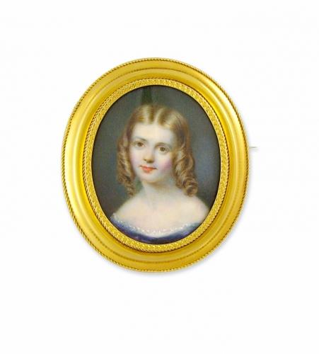 Antique Miniature in gold frame