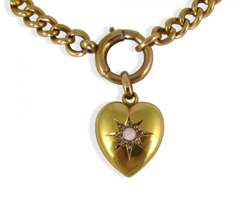 Antique gold opal heart bracelet