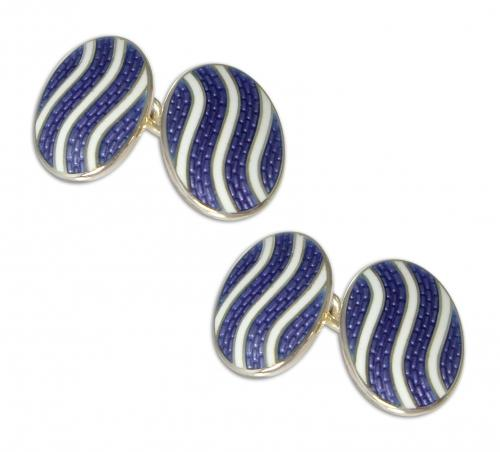 Enamel and silver cufflinks