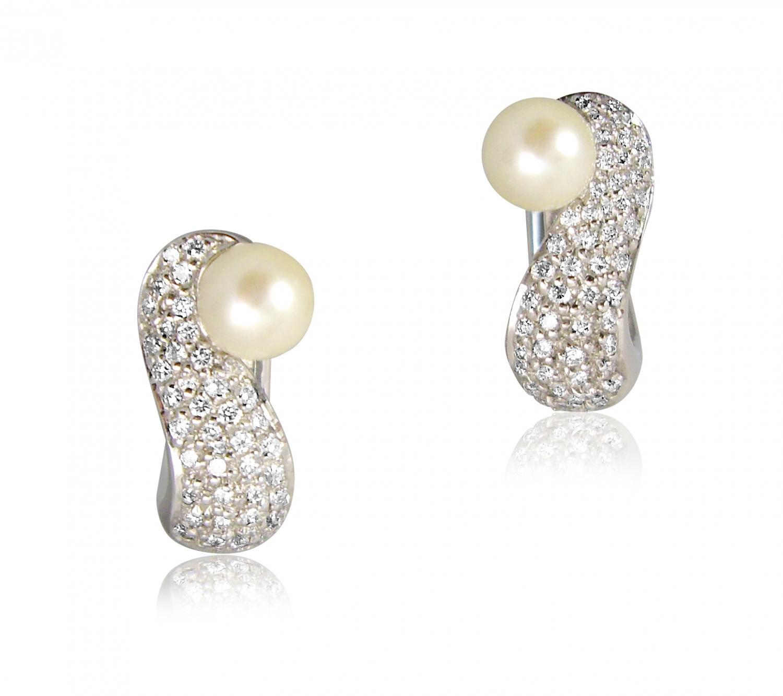 Diamond and Pearl Hoop Earrings