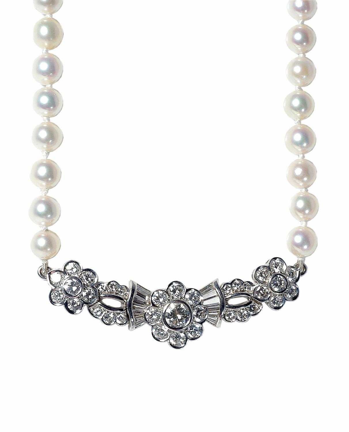 Diamond and Cultured Pearl Necklace