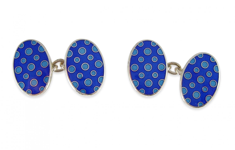 Blue Spotted Enamel Cufflinks