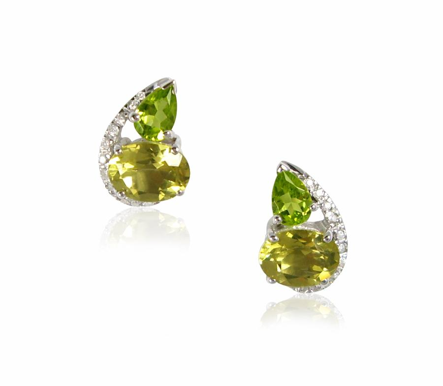 Peridot and Lemon Quartz Earrings