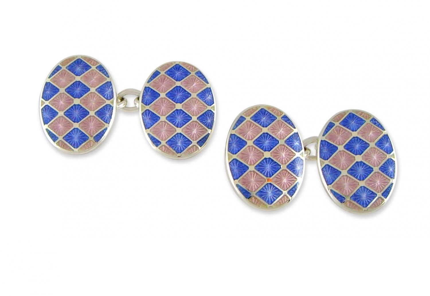 Pink and Blue Check Enamel Cufflinks
