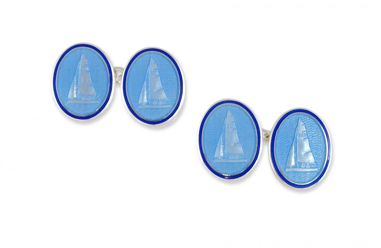 Blue Boat Enamel Cufflinks