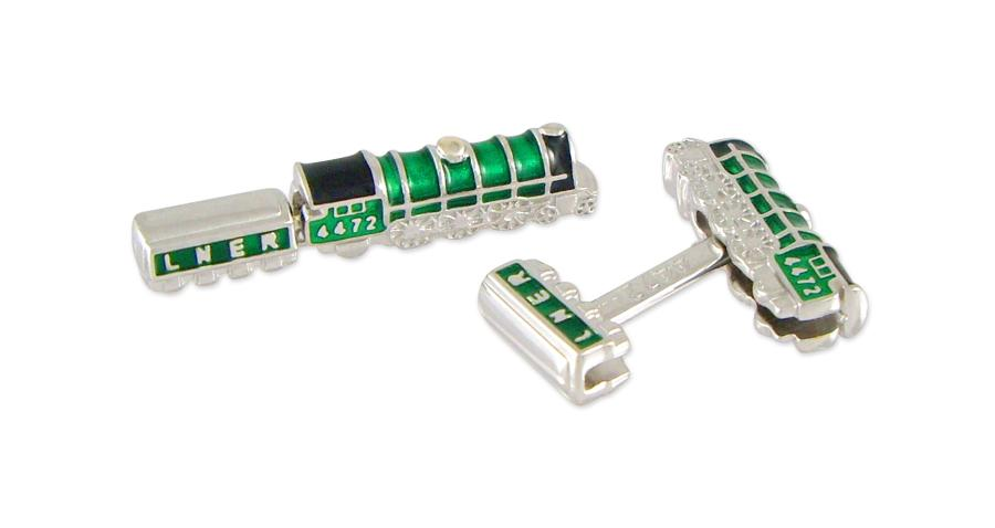 Train Enamel and Silver Cufflinks