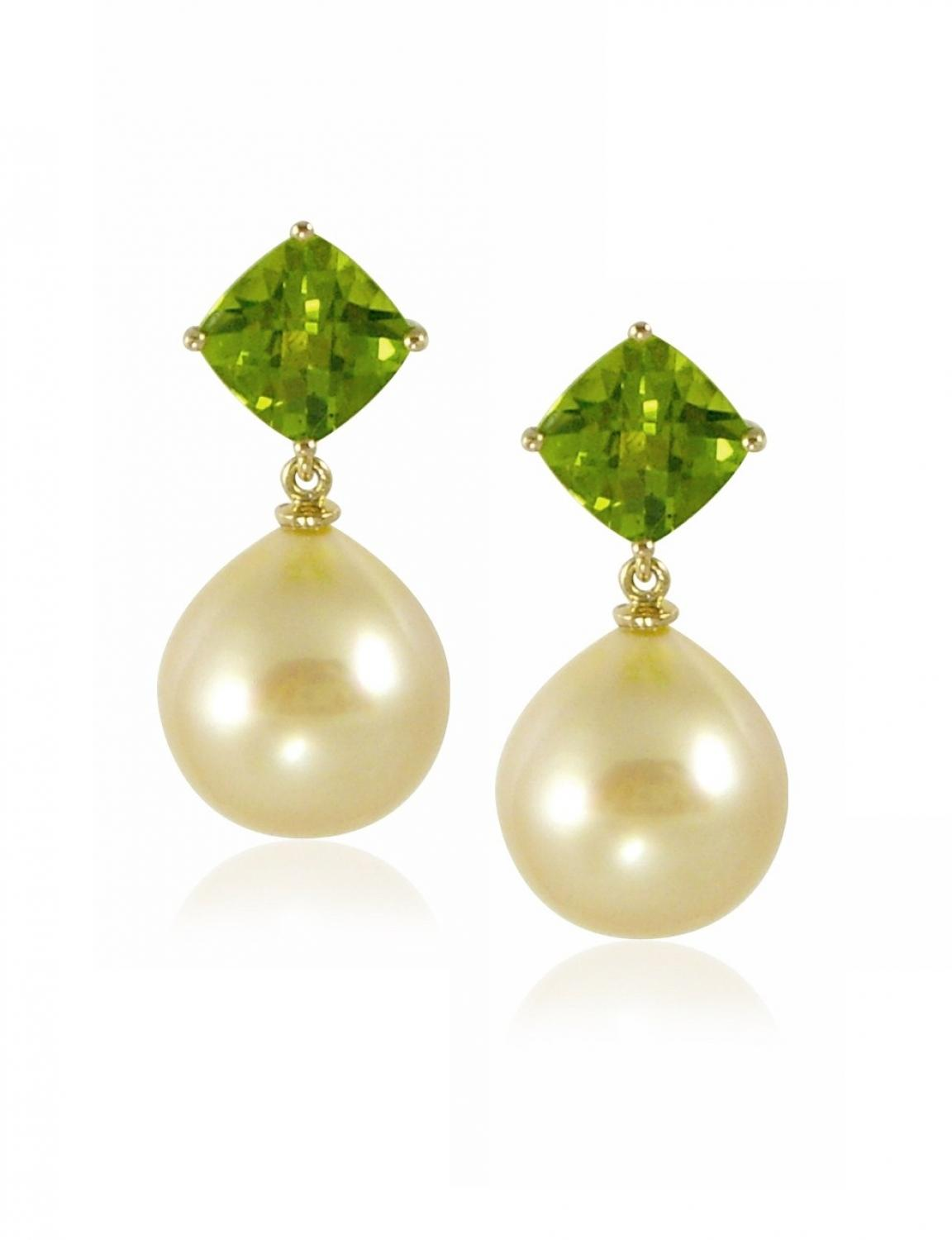 Gold Tahitian Pearl and Peridot Earrings
