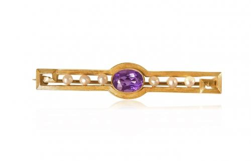 Amethyst and Pearl Bar Brooch