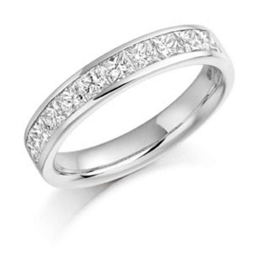 Diamond and Platinum Half Eternity Ring