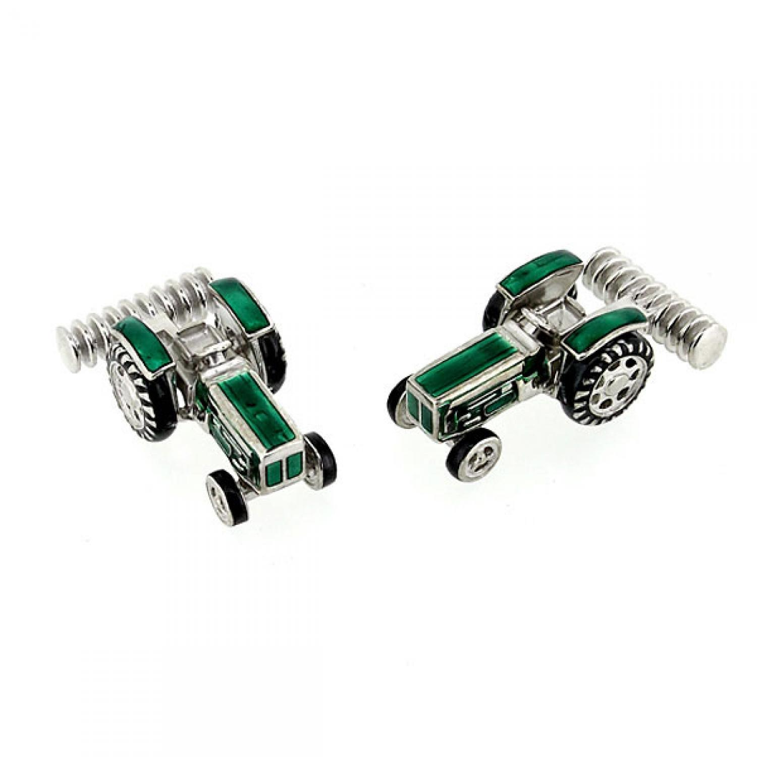 Silver and enamel Tractor Cufflinks