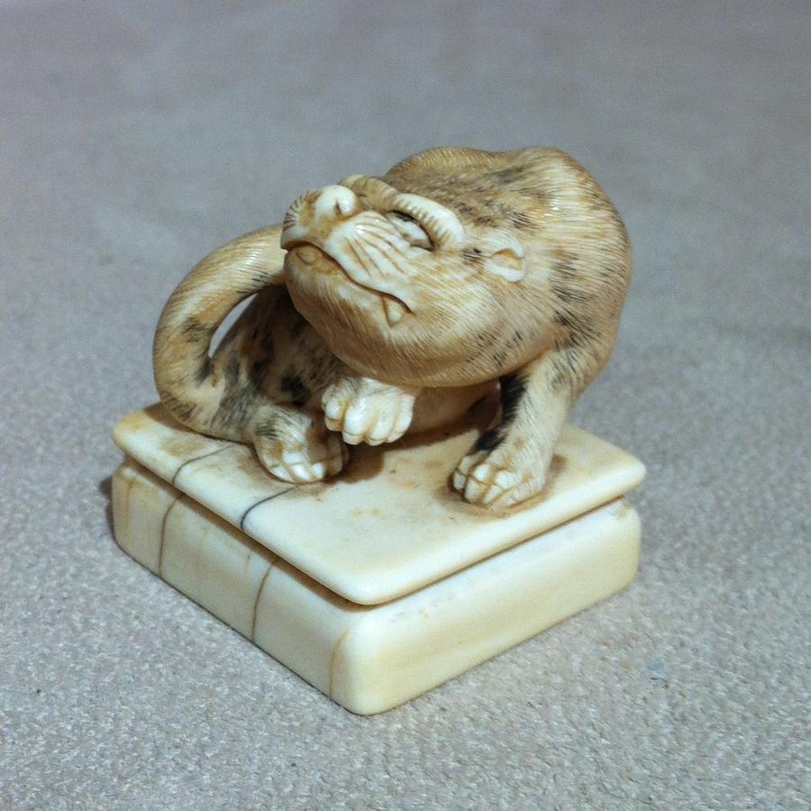 Ivory Netsuke of Crouching Tiger