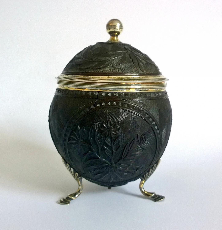 Georgian Carved Coconut Silver Tea Caddy