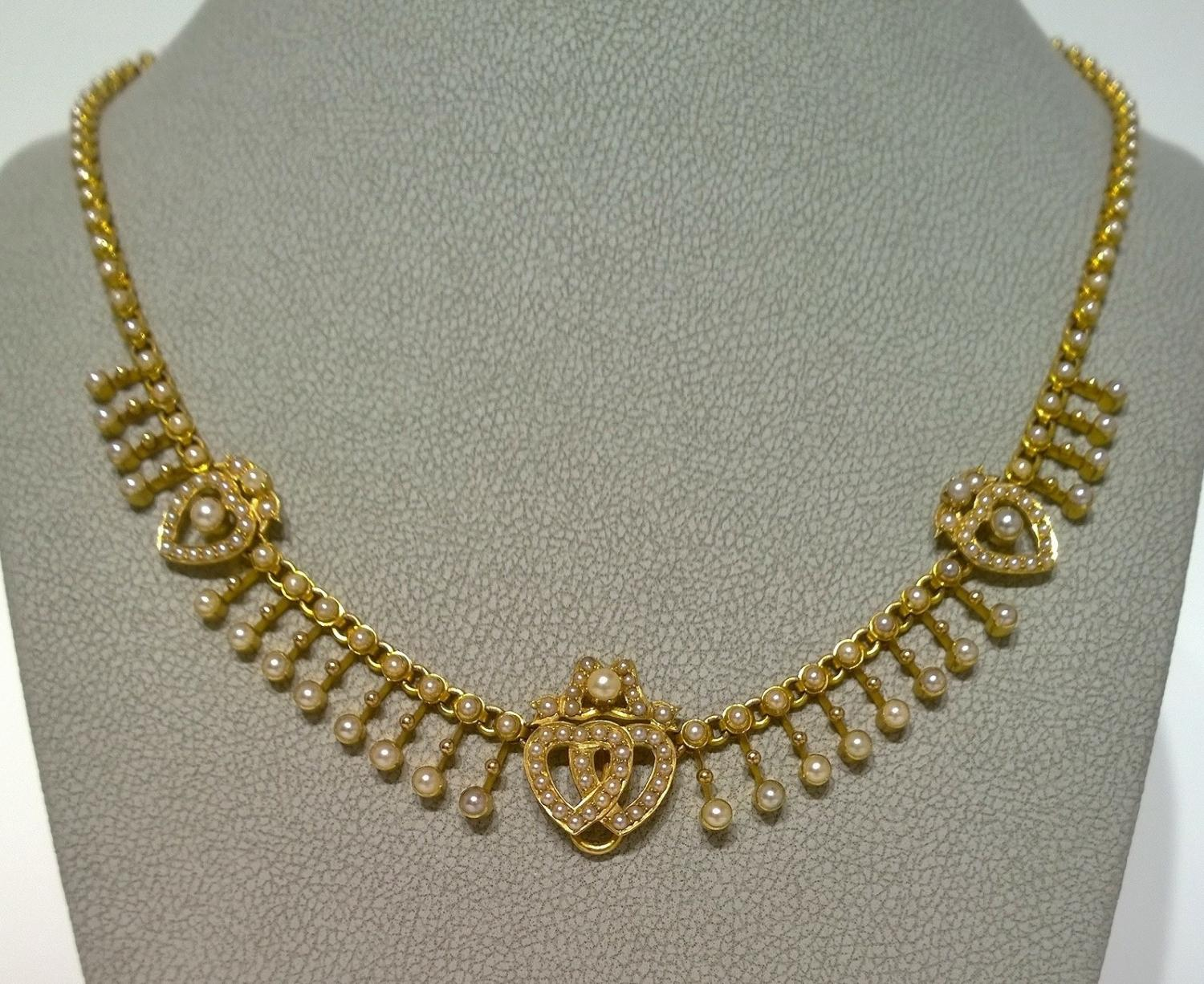 Victorian Gold and Pearl Necklace