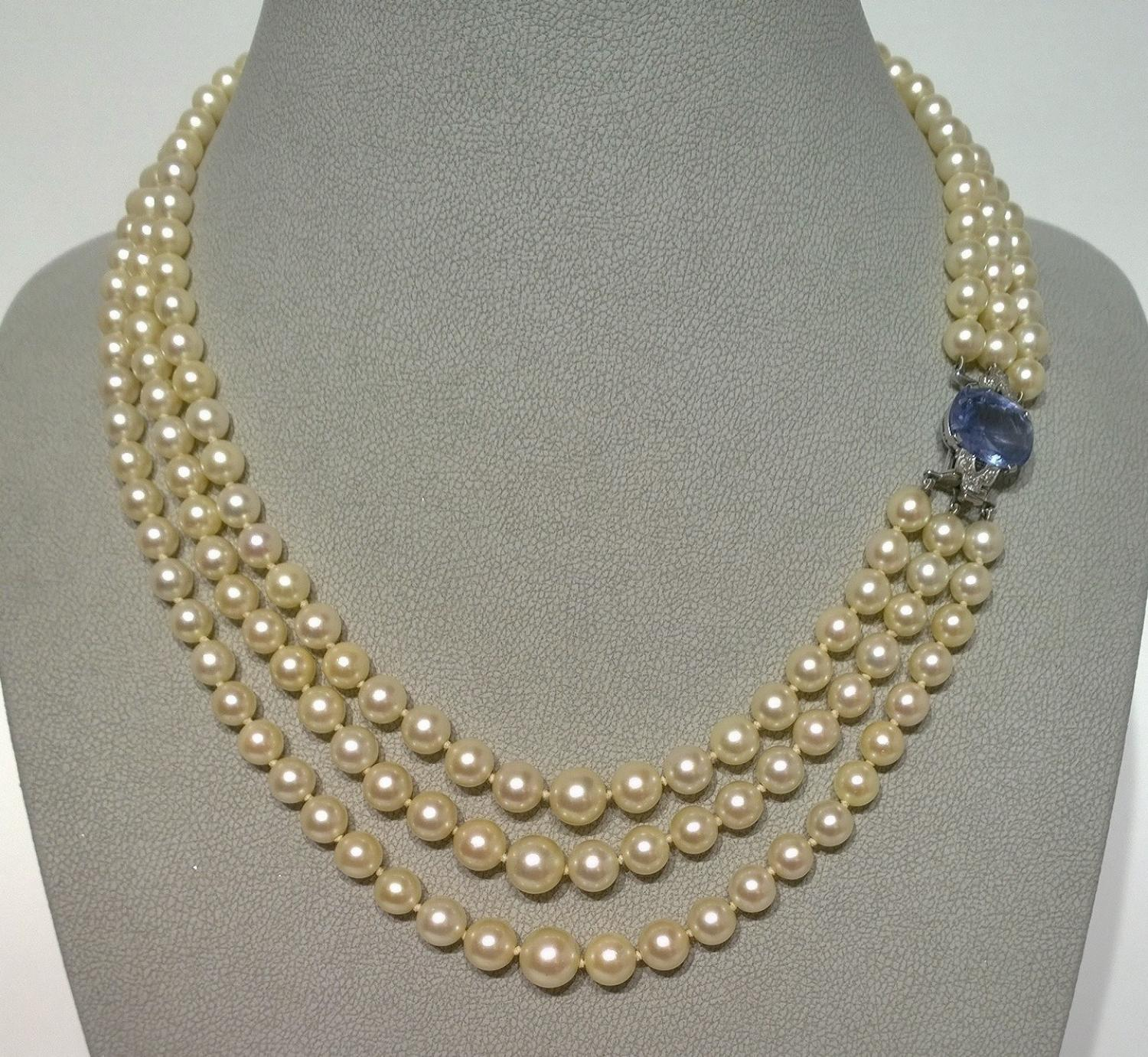 Sapphire and Pearl 1950's necklace