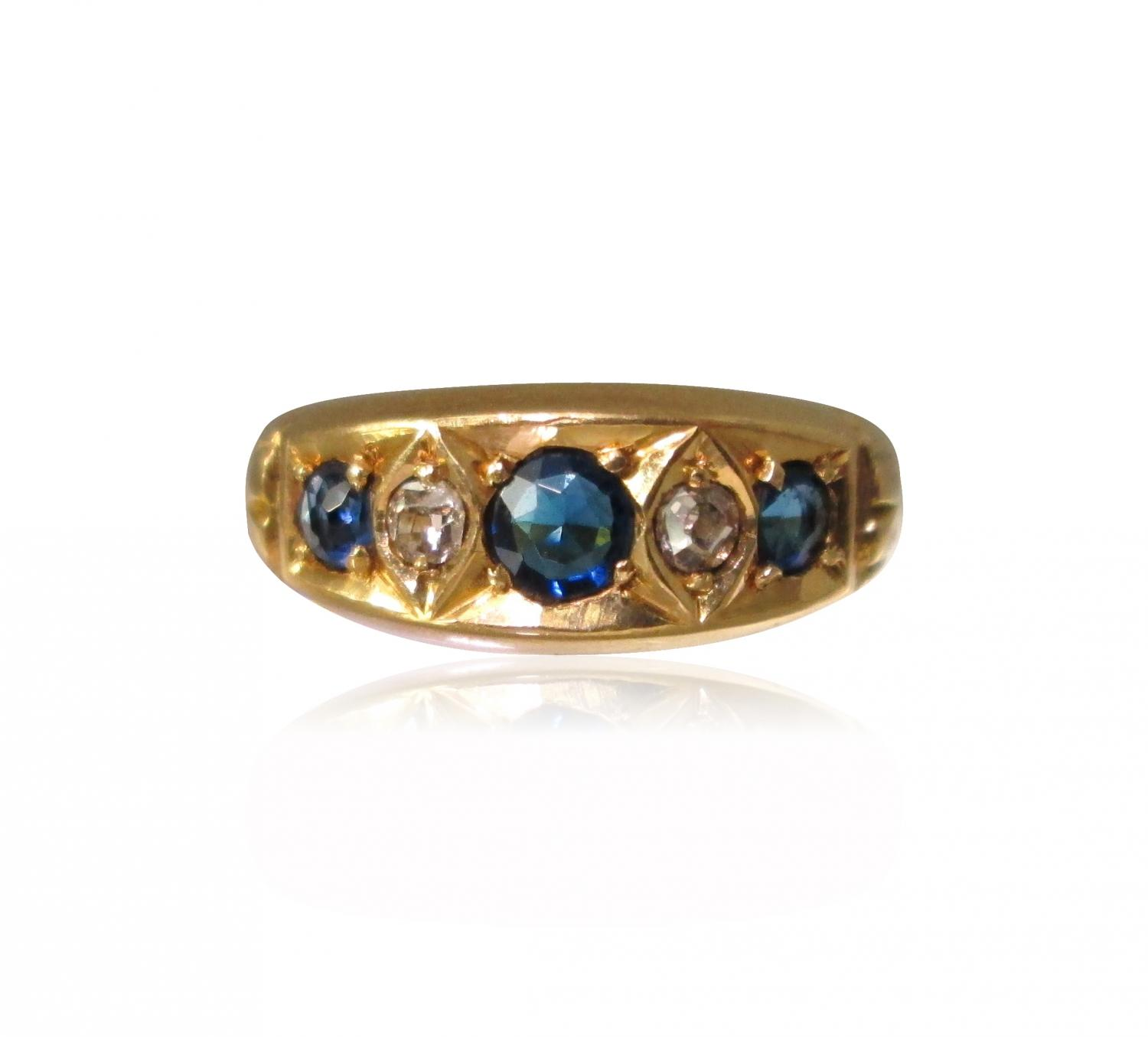 Victorian Sapphire and Diamond Ring in Antique and Vintage Jewellery