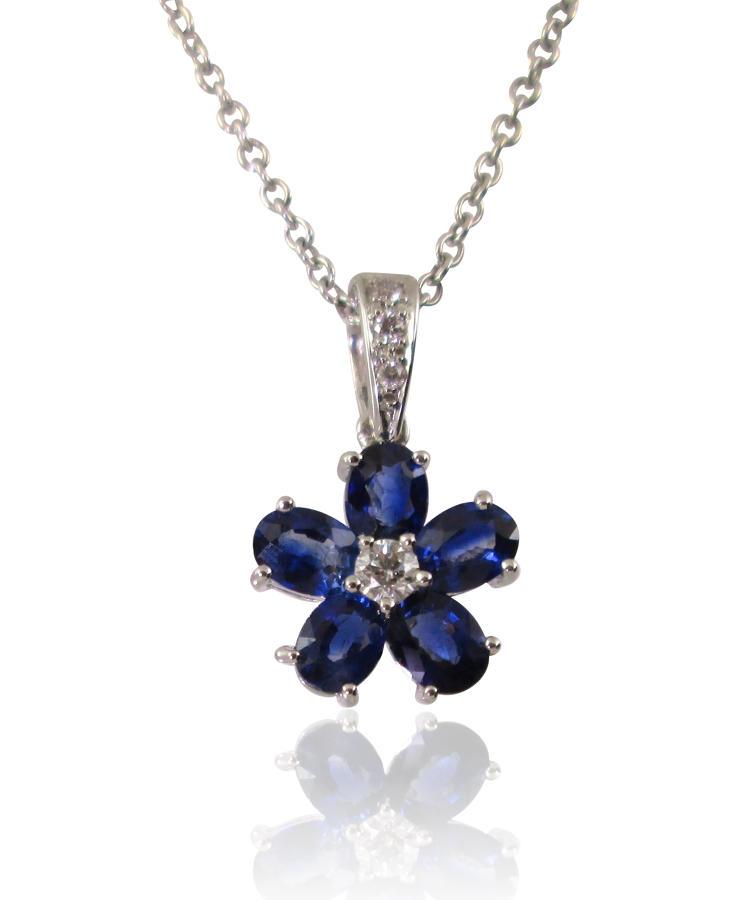 Sapphire and Diamond Flower Pendant