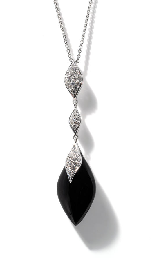 Black Onyx and Diamond Pendant
