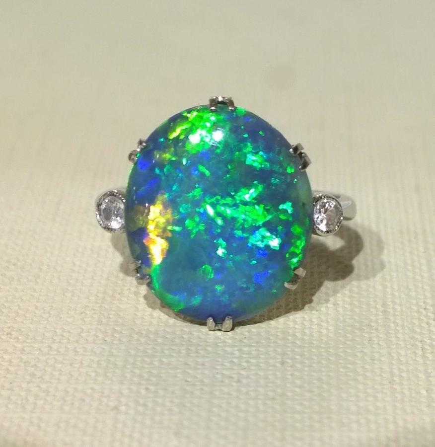 1920's Black Opal and Diamond Ring