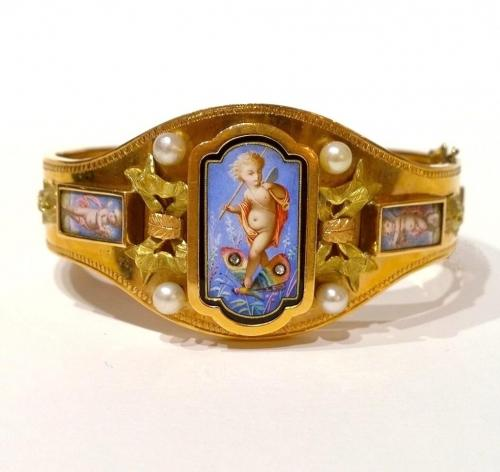 Antique Gold and Enamel Bangle c.1870