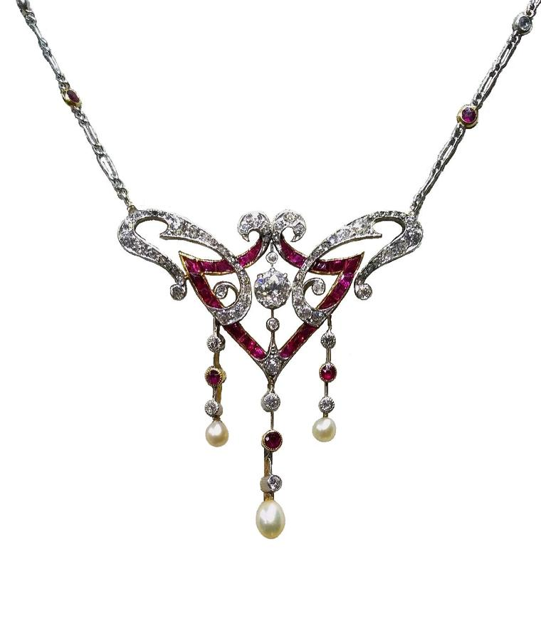 Antique Ruby And Diamond Necklace