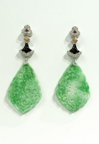Jade and Diamond Earrings