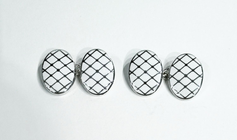 Enamel and Silver Cufflinks