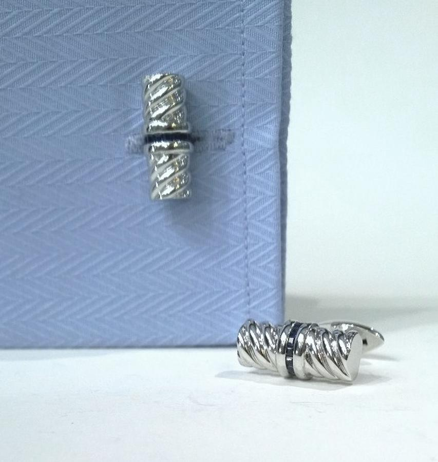 Silver Cufflinks set with Sapphires
