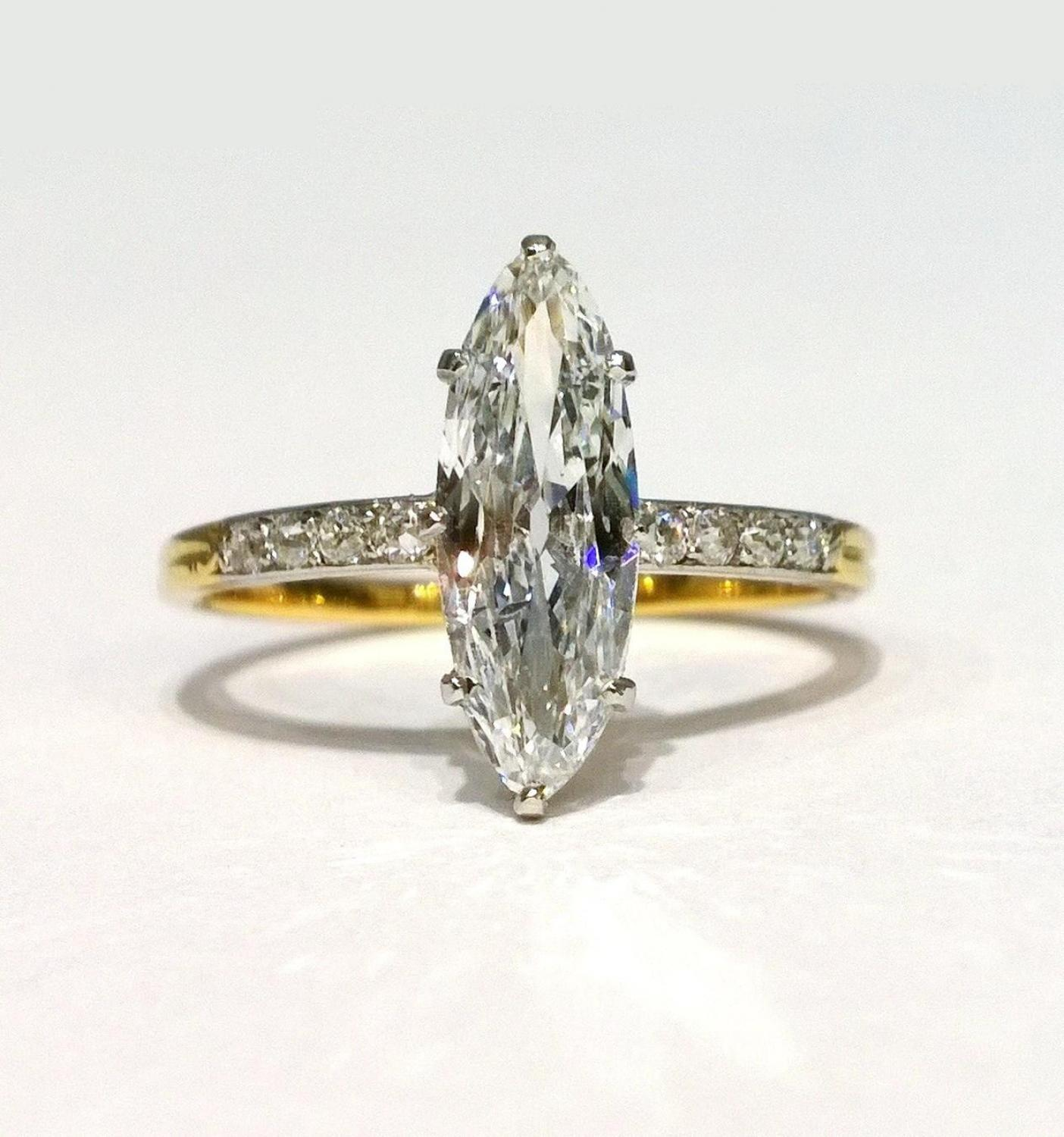 Antique marquise cut diamond