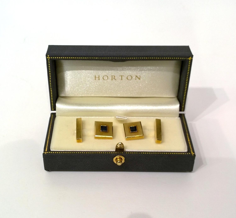 18ct gold sapphire cufflinks