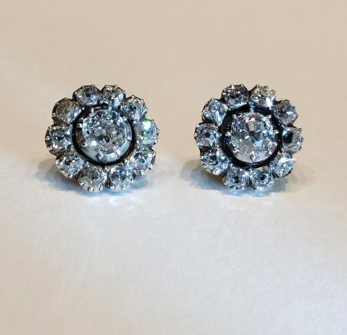 Antique old cut diamond cluster earrings
