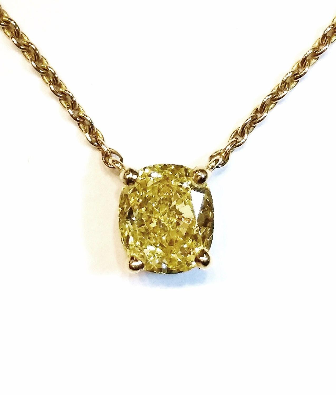Intense yellow diamond pendant