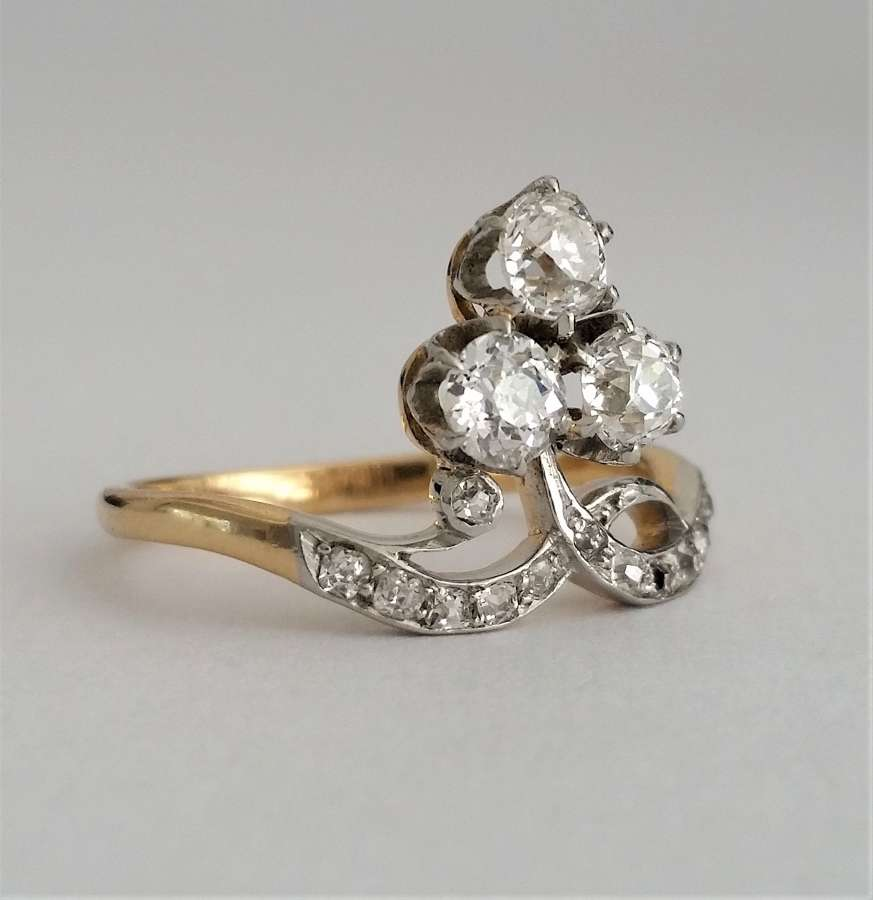 Antique trefoil cluster ring c1910