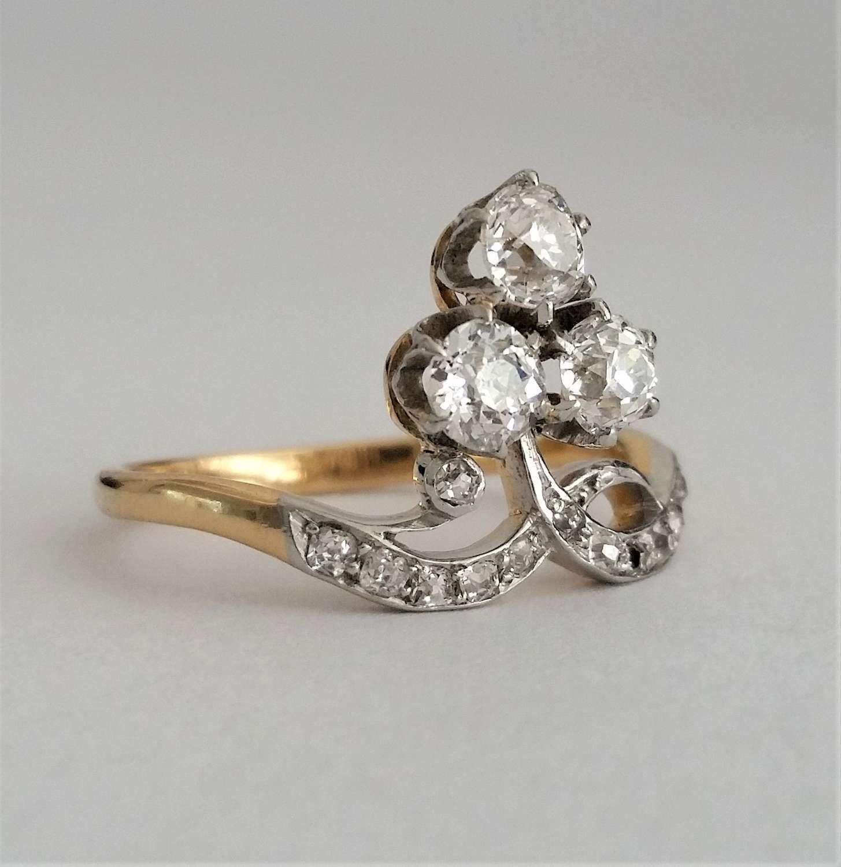 Antique trefoil cluster ring c1910