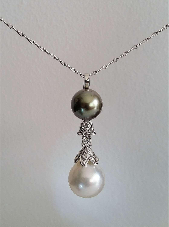 Tahitian and South Sea diamond drop pendant