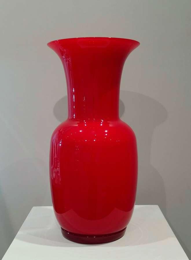 Venini red Opalino vase