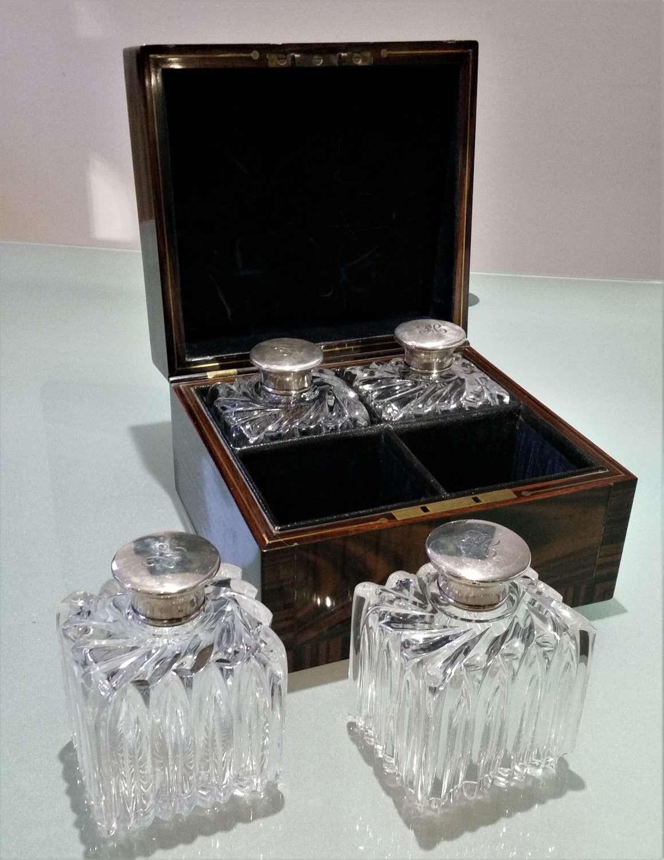 Set of perfume bottles in coromandel fitted box 1855