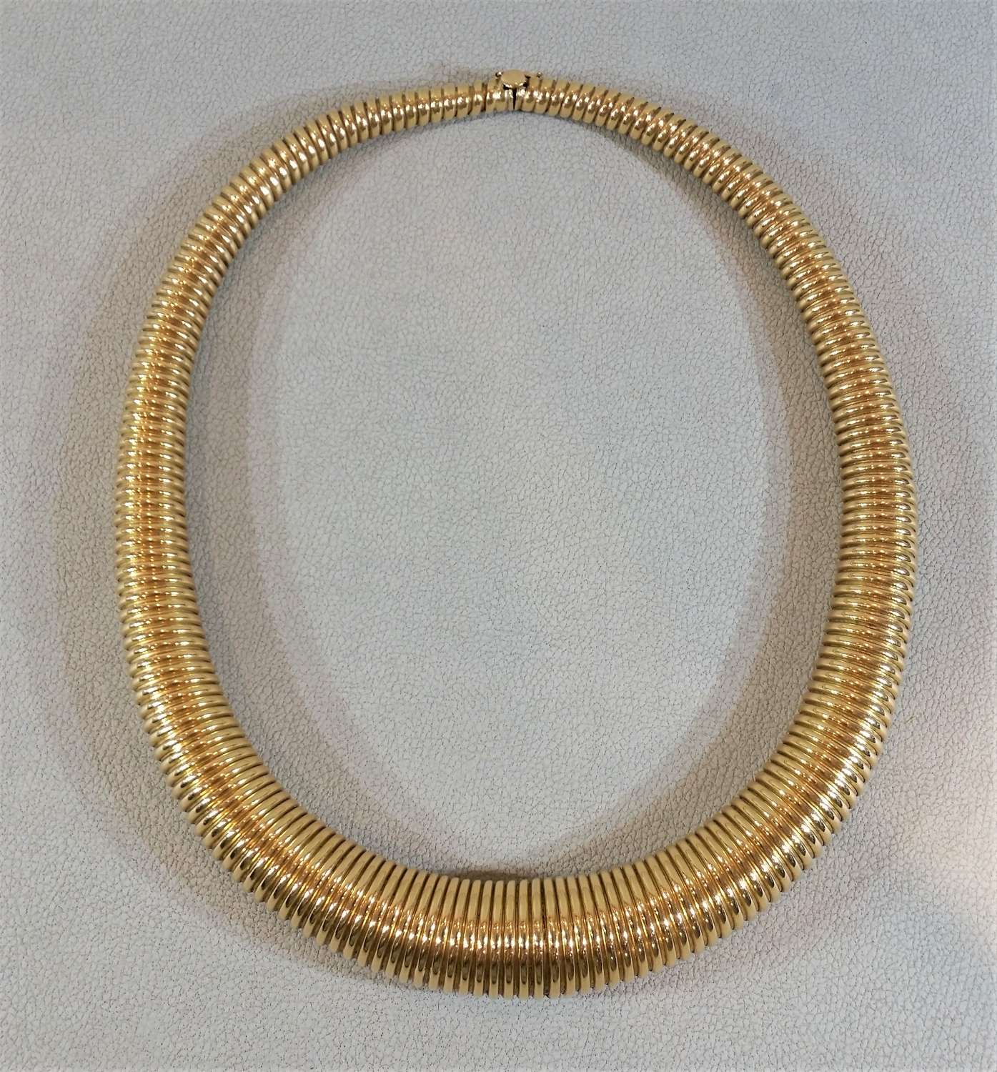 Gold torque gas pipe necklace