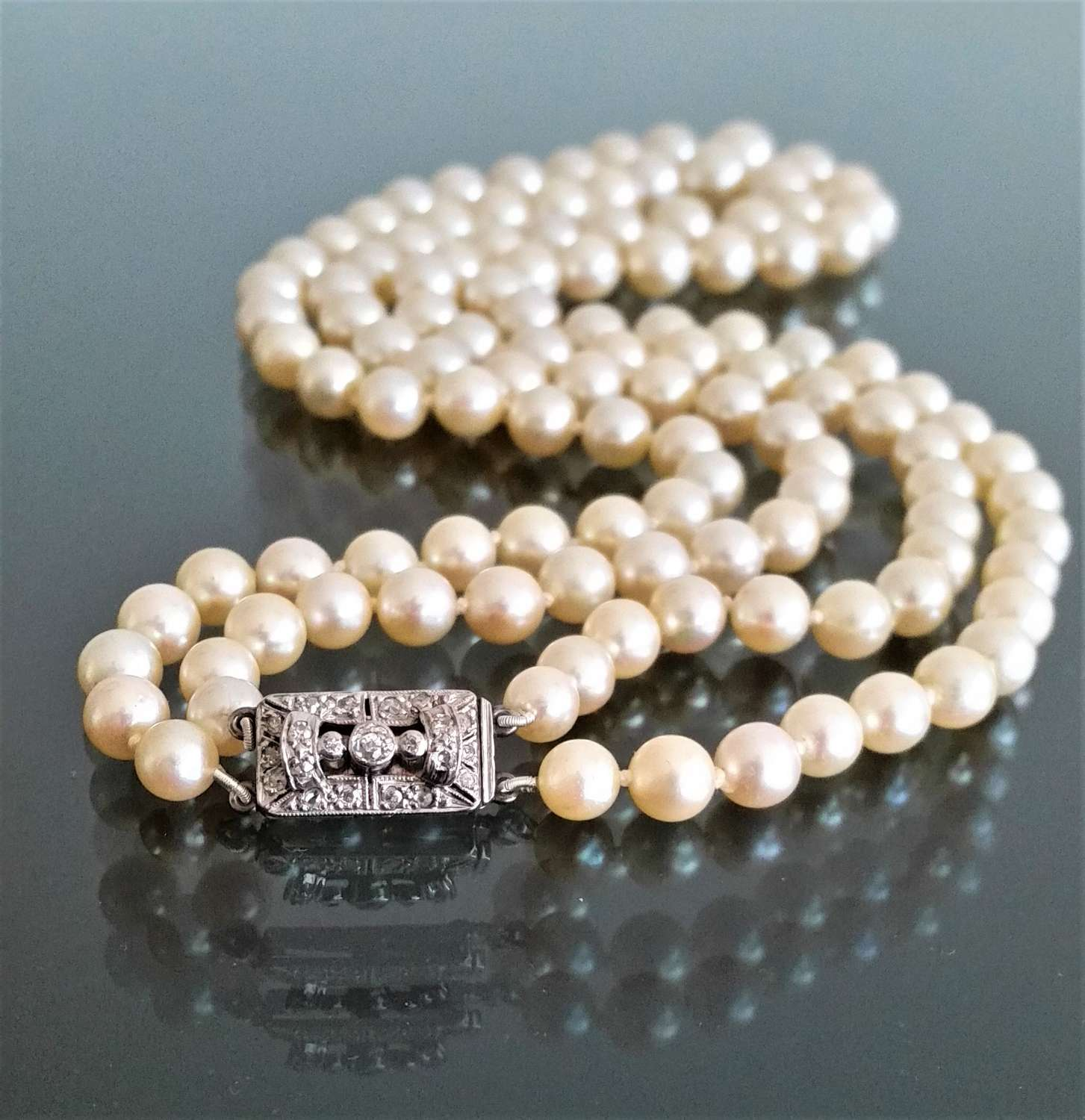 Two row akoya cultured pearl necklace