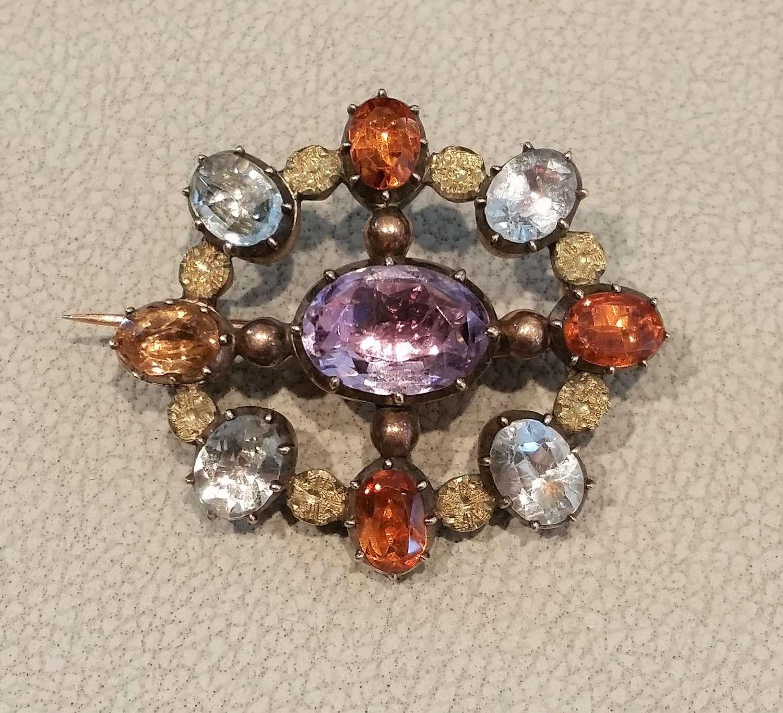 Regency multi stone brooch. c.1830