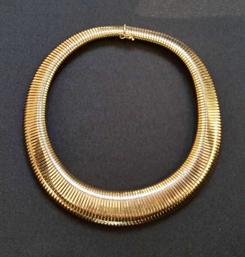 Gold 'tubo gas' collar necklace c.1980
