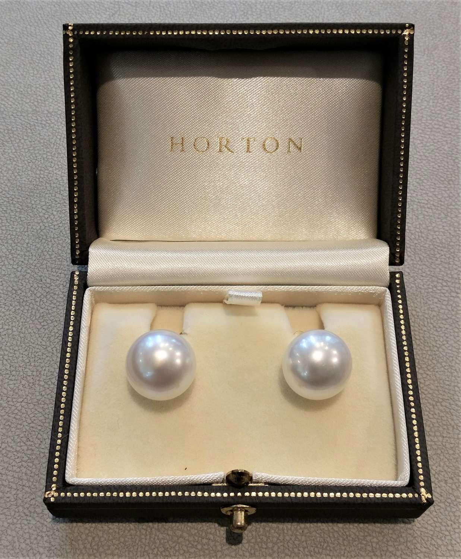 South sea cultured pearl stud earrings 14mm